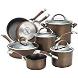 Circulon Symmetry Dishwasher Safe Hard Anodized Nonstick Cookware Pots and Pans Set, 11-Piece, Chocolate