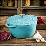 Pioneer Woman Timeless Beautcy Turquoise Dutch Oven w/Wmbossed Lid