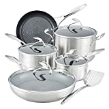 Circulon Stainless Steel Cookware Pots and Pans Set with SteelShield Hybrid Stainless and Nonstick Technology, 10 Piece, Silver