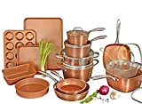 Gotham Steel Hammered Copper Collection – 20 Piece Premium Cookware & Bakeware Set with Nonstick Copper Coating, Includes Skillets, Stock Pots, Deep Square Fry Basket, Cookie Sheet and Baking Pans