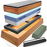 Sharp Pebble Complete Sharpening Stone Set- Dual Grit Whetstone 1000/6000 - Bamboo Leather Strop - Waterstone Knife Sharpener with Non Slip Bamboo Base, Angle Guide & Green Polishing/Honing Compound